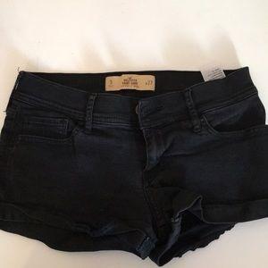 Black denim Hollister short shorts.
